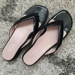 New black Platform Flip Flop sandals shoes size 9